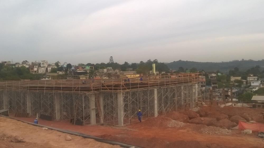 Obras do Hospital de Parelheiros em ritmo avançado (Divulgação/SIURB)