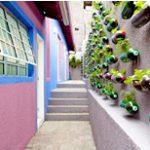Mural de plantas com recicláveis